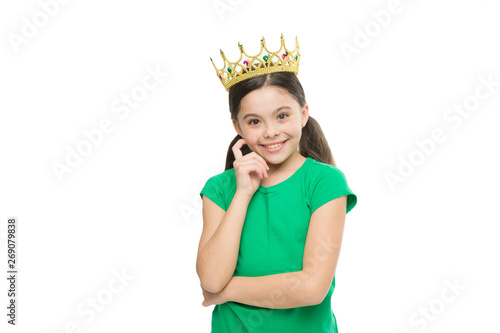 Photo  Kid wear golden crown symbol of princess