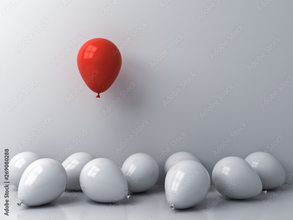 Fototapety, obrazy: Stand out from the crowd and different concepts One red balloon floating above other white balloons on white wall background with window reflections and shadows 3D rendering