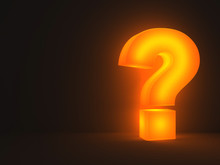 Light Question Mark Standing And Glowing In The Dark Night Background With Shadow 3D Rendering