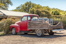 Red, Old Pickup Truck And Wine...