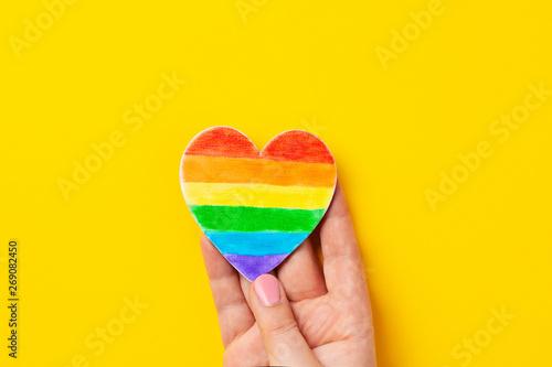 Fotografía  Rainbow color stripes symbol of LGBT gay Pride. Copy space