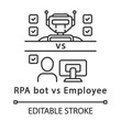 RPA bot vs employee linear icon