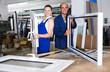 Leinwandbild Motiv Brigade of two people working at workshop