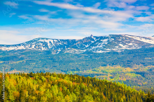 Fototapeta Scenic spring landscape of Giant Mountains - Karkonosze Mounatains, Poland obraz