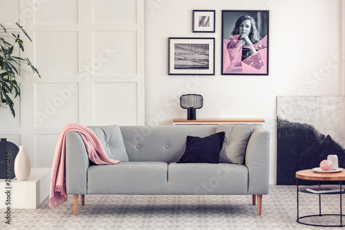 Amazing Black And Grey Pillows On Scandinavian Couch In White Living Dailytribune Chair Design For Home Dailytribuneorg