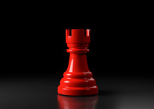 Red Rook Chess, Standing Against Black Background. Chess Game Figurine. Leader Success Business Concept. Chess Pieces. Board Games. Strategy Games. 3d Illustration, 3d Rendering