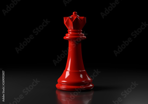 Obraz na plátně Red queen chess, standing against black background