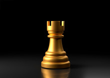 Gold Rook Chess, Standing Against Black Background. Chess Game Figurine. Leader Success Business Concept. Chess Pieces. Board Games. Strategy Games. 3d Illustration, 3d Rendering