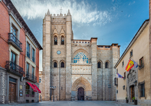Poster Con. Antique gothic and romanesque cathedral in Avila. Castilla y Leon, Spain
