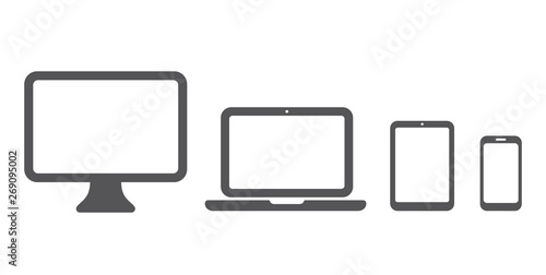 Obraz Device icon: Computer, laptop, tablet and smartphone set. Vector illustration - fototapety do salonu
