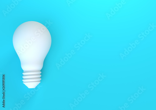 Fototapeta White light bulb on bright blue background in pastel colors. Minimalist concept, bright idea concept, isolated lamp. 3d render illustration obraz na płótnie