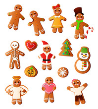 Set Of Delicious, Tasty Gingerbread Of Different Home Holidays