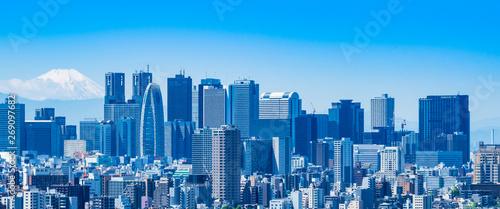 Valokuva  富士山と新宿副都心の高層ビル ワイド