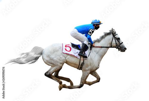 Obraz na plátne horse racing jockey isolated on white background