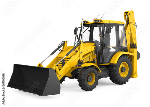 Backhoe Loader Isolated Canvas Print