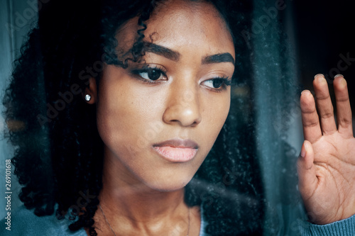 Portrait of sad black teenager alone at home Fototapeta