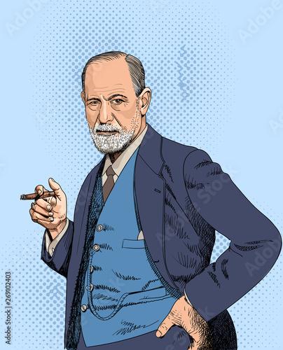 Fotografering Sigmund Freud portraitin line art illustration