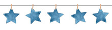 Seamless Repeatable Garland With Small Decorative Dark Blue Stars Hanging On Clothes Line. Handdrawn Watercolour Graphic Drawing On White, Isolated Clipart Element For Design, Card, Banner, Scrapbook.