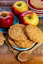Round Rice Crackers Made With Apple And Cinnamon, Healthy Snack For Breakfast, Lunch And School Food