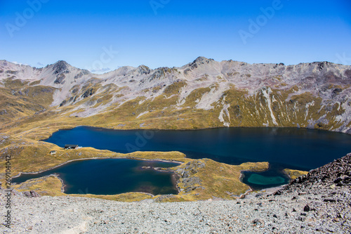 Lake in the mountains, Angelus hut, south island, New Zealand. Canvas Print