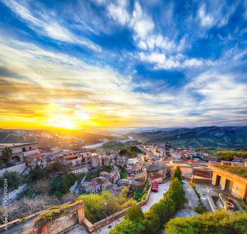 Fototapety, obrazy: Sunrise over old famous medieval village Stilo in Calabria