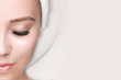 Leinwanddruck Bild - Eyelash extension procedure. Beautiful woman with long eyelashes and perfect glow clean skin. Girl in beauty salon getting facial treatment. Perfect trendy eyebrows.