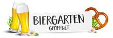 Biergarten Schild Bier Trinken München Mit Bierglas Und Brezel Banner