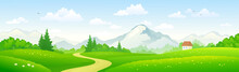 Mountain Forest Landscape, Panoramic Background