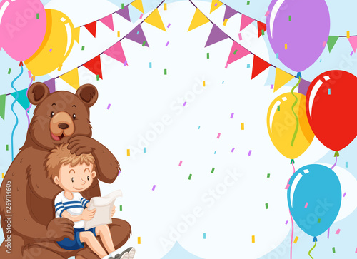 Wall Murals Bears Bear and boy on birthday template