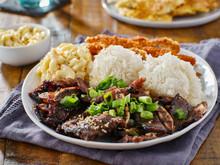 Hawaiian Bbq Plate With Mix Of Chicken Katsu, Korean Kalbi Beef Short Ribs, Rice, And Macaroni Salad