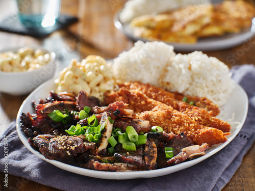 Fotomural  hawaiian bbq plate with mix of chicken katsu, korean kalbi beef short ribs, rice
