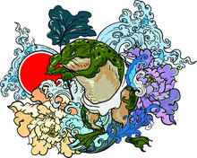 Traditional Japanses Frog Tattoo With Water Wave And Peony Flower And Lotus Leaf And Red Sun.Green Frog With Japanese Wave Vector And Wallpaper Style.