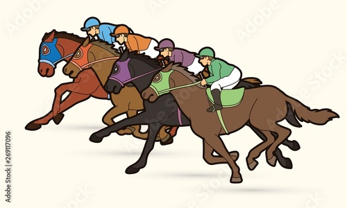 Photo Group of Jockeys riding horse, sport competition cartoon sport graphic vector