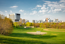 Early Morning Toronto City Center Skyline View From Riverdale Park East