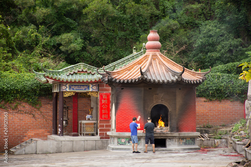 People burn joss paper and burned as sacrificial offering for pray to god and me Canvas Print