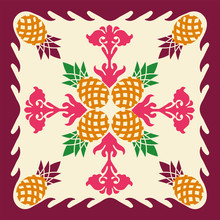 Hawaiian Quilt Illustration, Nature,pineapple, Leaves, Background, Fabric, Textiles, Summer Image