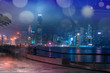 Leinwanddruck Bild - Abstract colorful bokeh with city night background. Double exposure