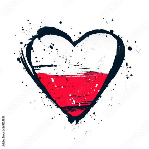 Polska flaga w formie wielkiego serca. Ilustracji wektorowych