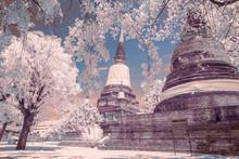 Ruin Pagoda At Wat Yai Chaimongkol In Ayutthaya ,Thailand. Image With IR Camera.