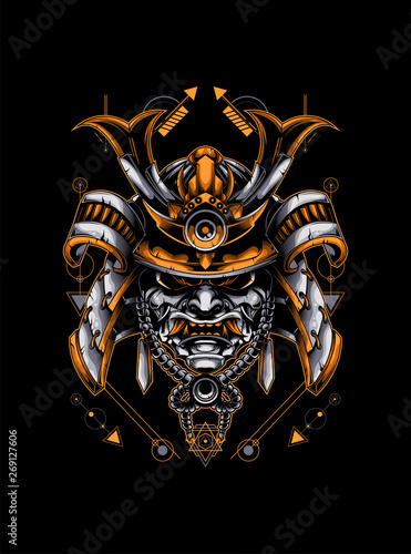 Photo samurai head with sacred geometry pattern