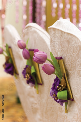 wedding decorations with flowers and party supplies Wallpaper Mural