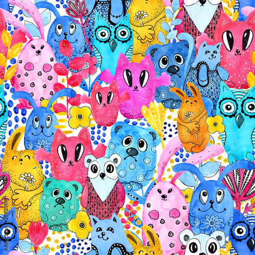Poster Hibou Seamless pattern,cartoon characters in the style of kawaii with the image of animals, birds and flowers. Design backgrounds, wallpapers, covers, coloring books, packages