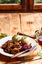 Serving Of Spicy Wild Venison Goulash With Herbs