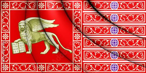 3D Flag of Republic of Venice. 3D Illustration. Slika na platnu