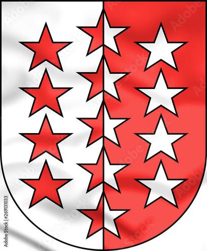3D Valais Coat of Arms, Switzerland. 3D Illustration. Canvas Print