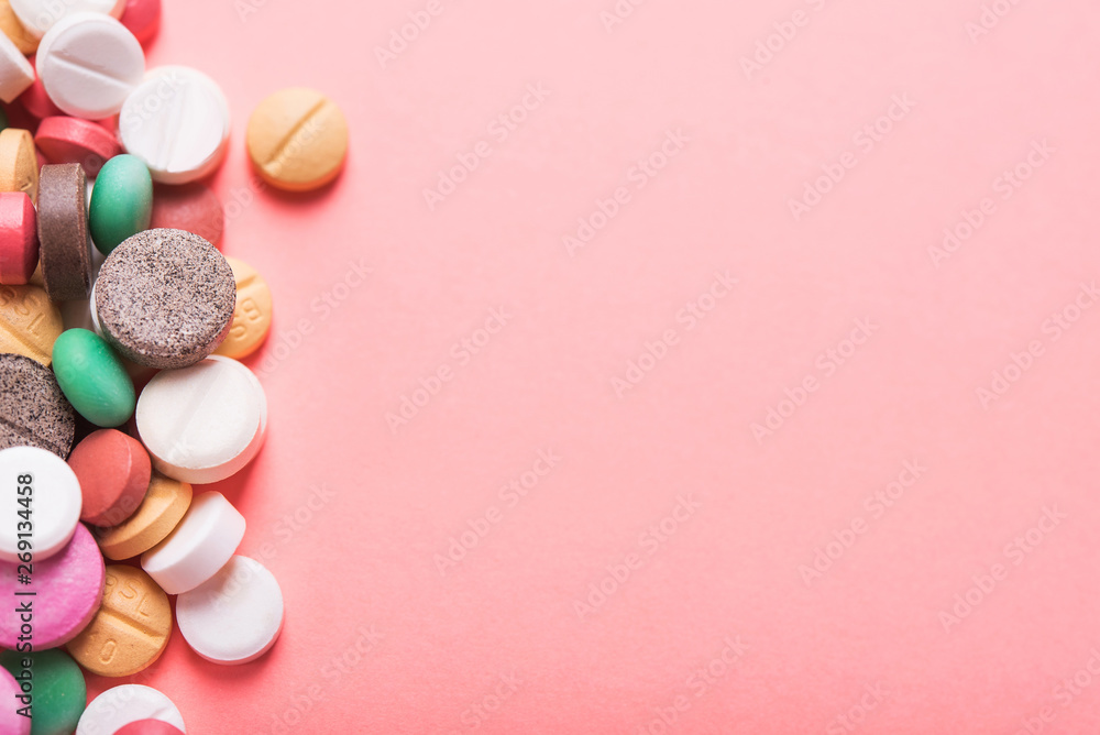 Fototapety, obrazy: Pile of colored pills, capsule and tablets