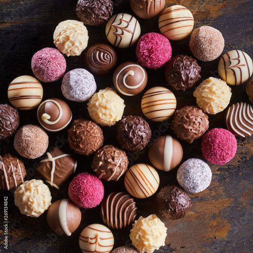 Gourmet speciality chocolate bonbons or pralines Wallpaper Mural