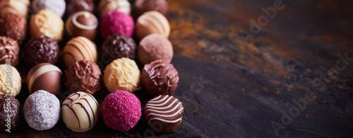 Panorama banner of handmade chocolate balls