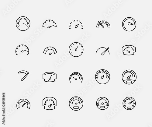 Fotomural Speedometer related vector icon set.