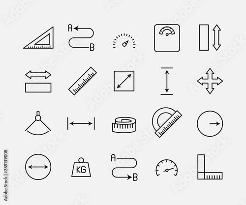 Obraz na plátne Measuirng related vector icon set.